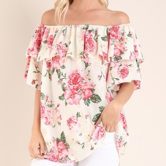 2f04fba21785 Floral ruffle off shoulder top
